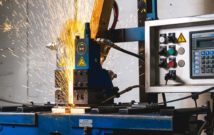 In house bandsaw blade welding facility